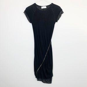 A.L.C. | Black Mesh Midi Dress Zip Medium